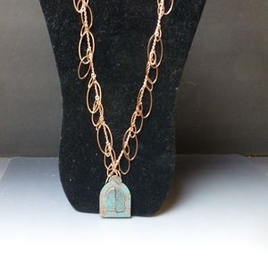 Copper rings necklace patina copper locket